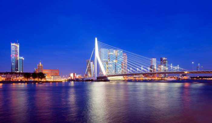 Vinylová Tapeta Rotterdam Skyline at Twilight, Nizozemsko - Evropa