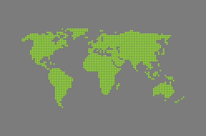 Nálepka Pixerstick Moderne Weltkarte grau - Evropa