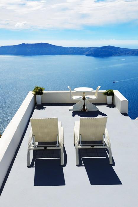 Vinyl Fototapete Die Terrasse Mit Meerblick In Luxus Hotel, Insel  Santorini, Griechenland