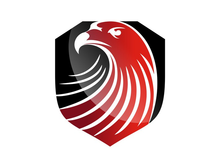 Hawk Logo Eagle Symbol Red Head Icon Black Emblem Wall Mural