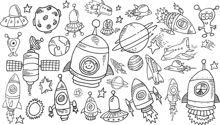 Outer Space Sketch Doodle Vector Set Vinyl Wall Mural