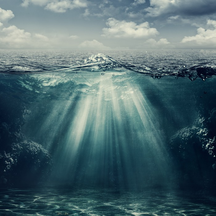 Retro Style Marine Landscape With Underwater View Wall