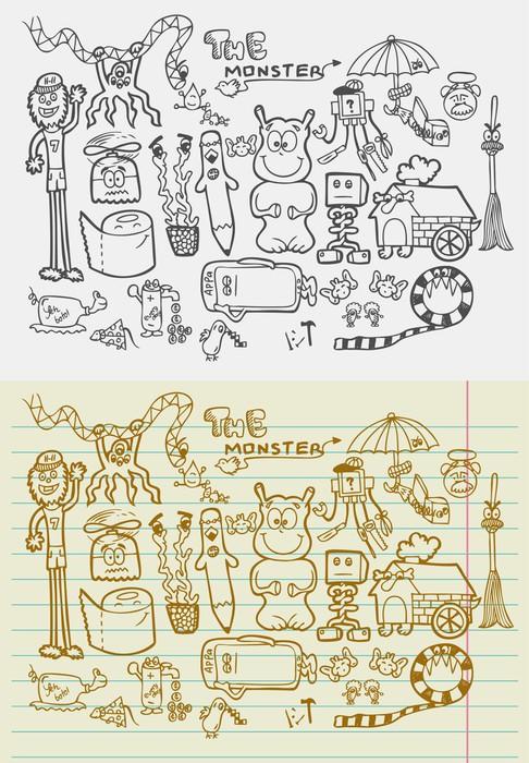Vinylová Tapeta Doodle monstra - Umění a tvorba