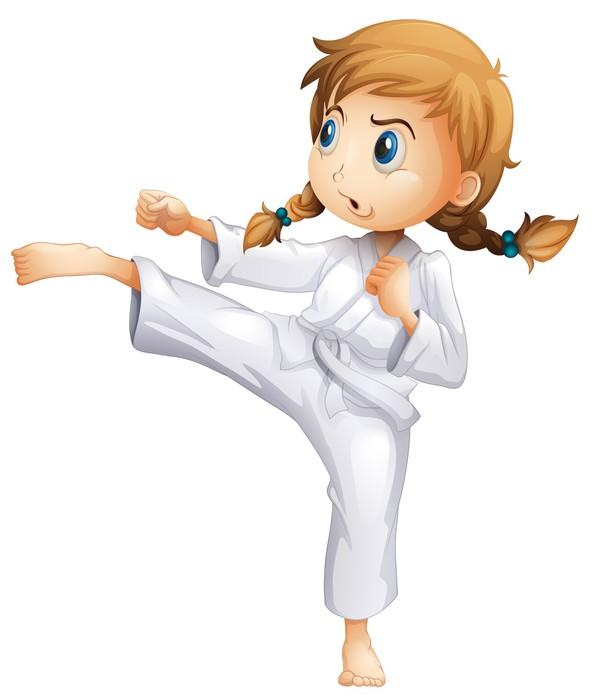 Vinylová Tapeta Statečný holka dělá karate - Individuální sporty
