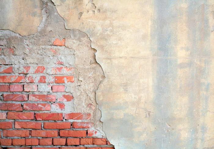 Half Geschilderde Muur : Fotobehang half geschilderde bakstenen muur u pixers we leven