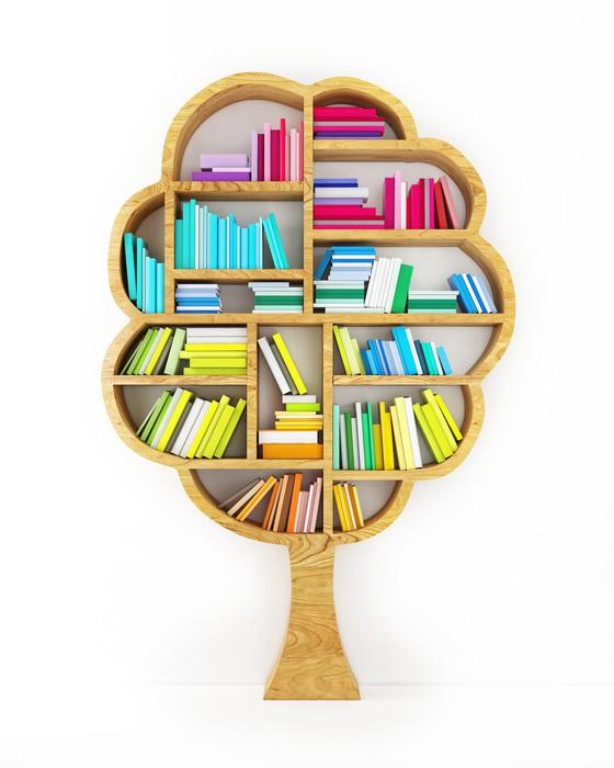 Carta da parati albero della conoscenza mensola di legno for Carta parati libri