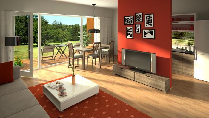 Carta da Parati Rendering di un moderno soggiorno con cucina a ...