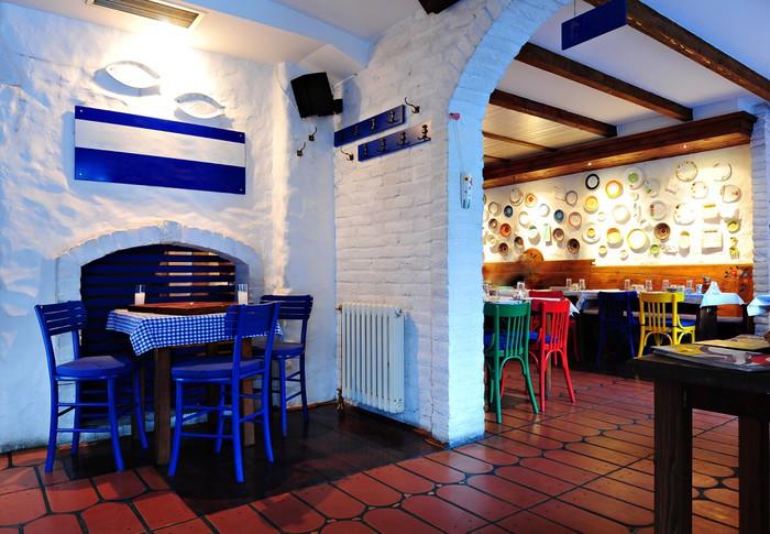 Vinylová Tapeta Řecký interiér restaurace - Obchody