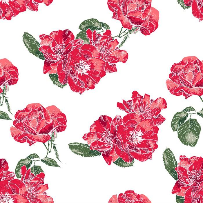 fototapete nahtlose muster mit vintage rosen pixers wir leben um zu ver ndern. Black Bedroom Furniture Sets. Home Design Ideas