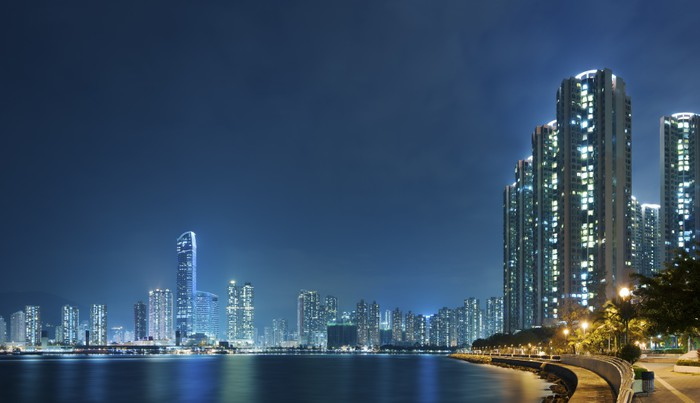 Vinylová Tapeta Hong Kong přístav v noci - Asijská města
