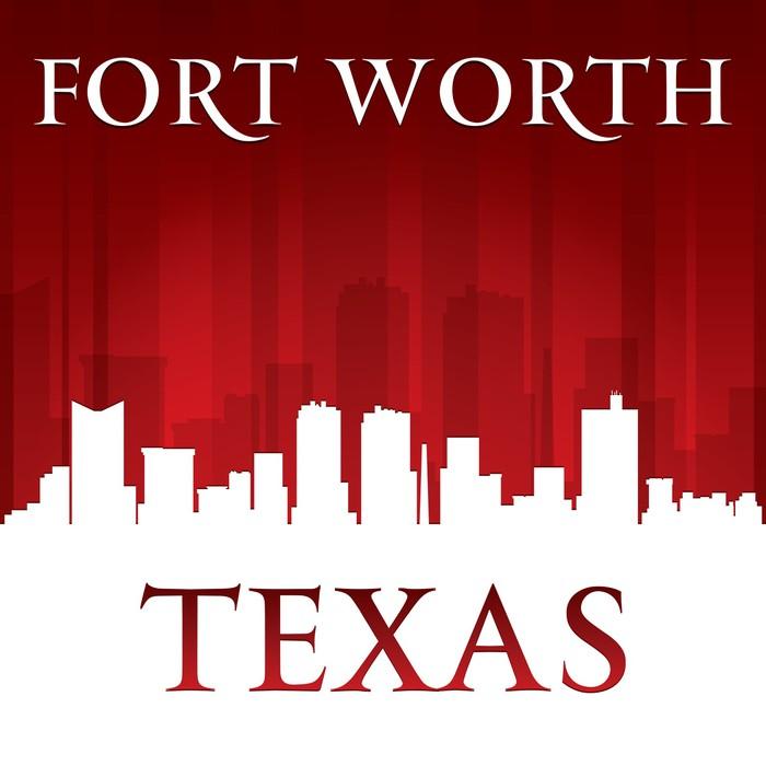 Vinylová Tapeta Fort Worth Texas city skyline silhouette červeném pozadí - Amerika