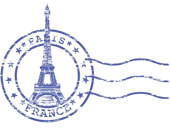 Shabby Stamp With Eiffel Tower