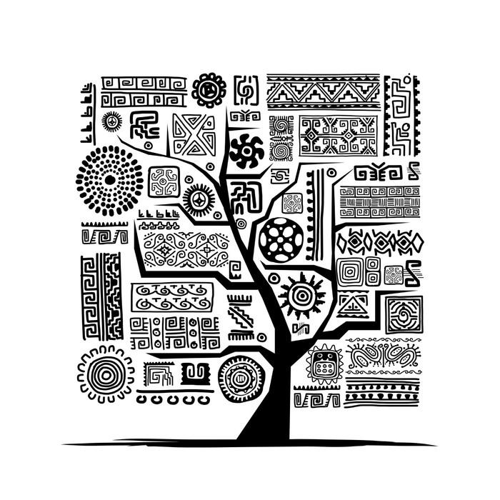 Vinylová Tapeta Etnické strom s ručně vyráběné ozdoby pro svůj design - Umění a tvorba