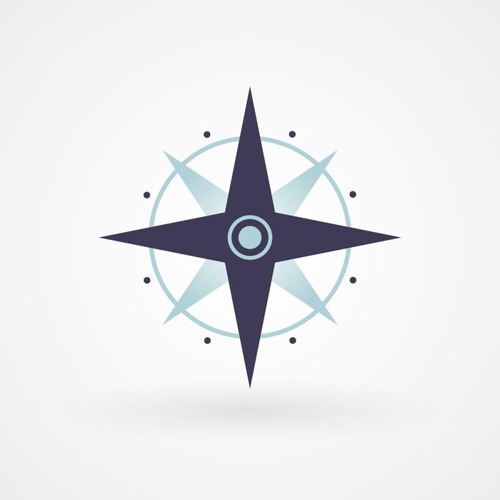 Fototapete blau minimal kompass pixers wir leben um - Fototapete blau ...