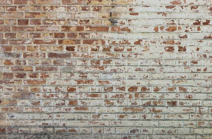 Carta da Parati in Vinile Sfondo di un vecchio muro di mattoni annata sporco con intonaco peeling - Temi