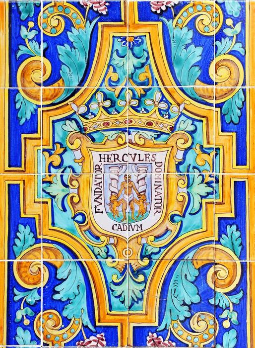 Cuadro en lienzo escudo de c diz en azulejos andaluc a for Azulejos cadiz