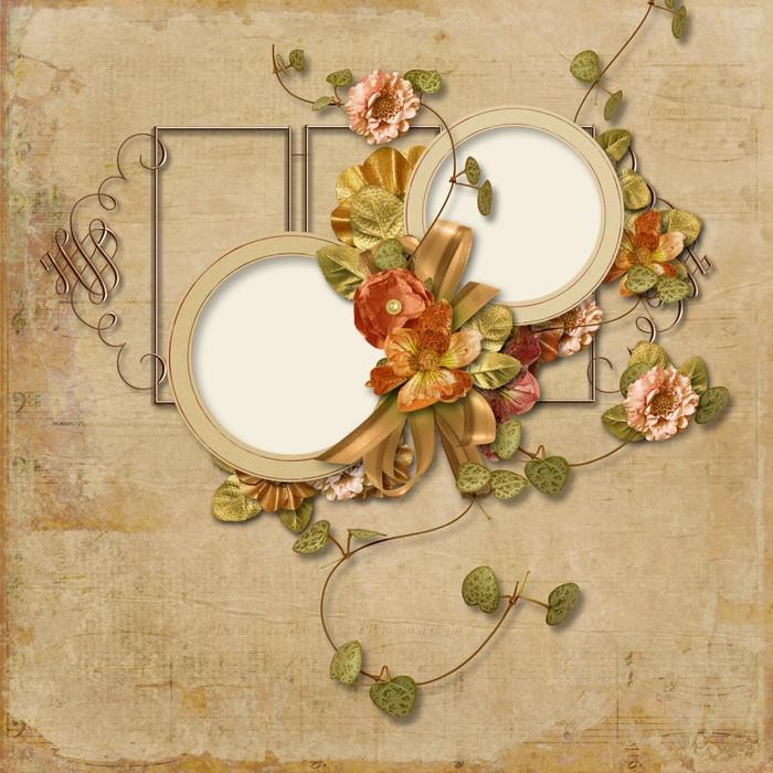 Vinylová Tapeta Vintage pozadí s jemnými květy s rámem pro fotografie - Pozadí
