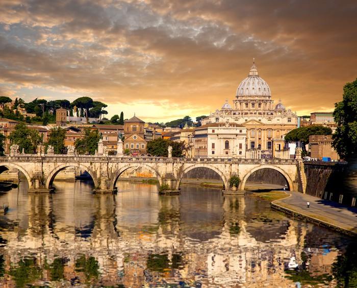 Carta da parati basilica di san pietro con ponte in for Carta da parati roma