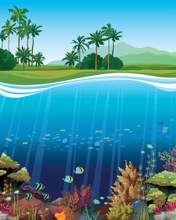 Vinylová Tapeta Korálový útes s podvodními tvory. - Vodní a mořský život