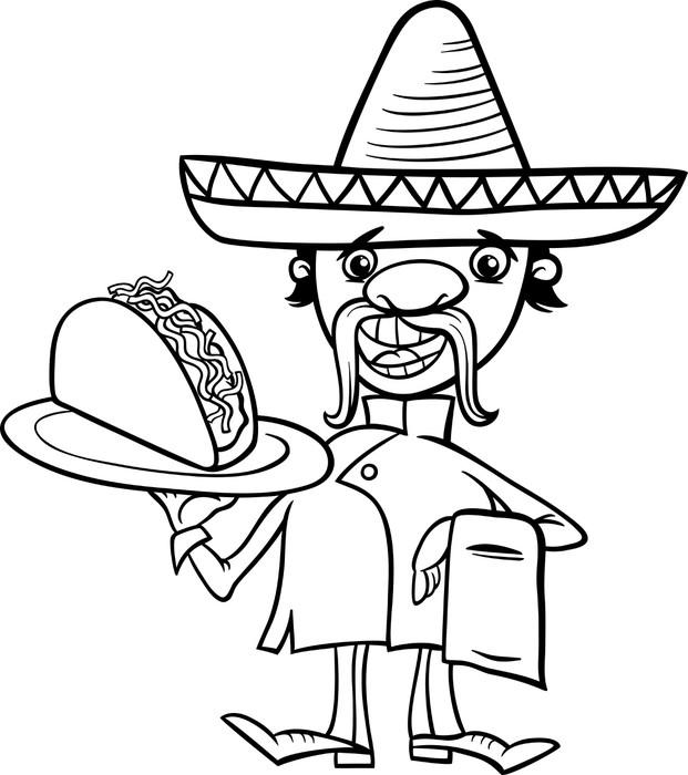 Fototapete Mexikanische Küchenchef mit Taco Malvorlagen • Pixers ...