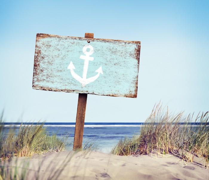 Vinylová Tapeta Modrá malované dřevo Label na pláži - Prázdniny