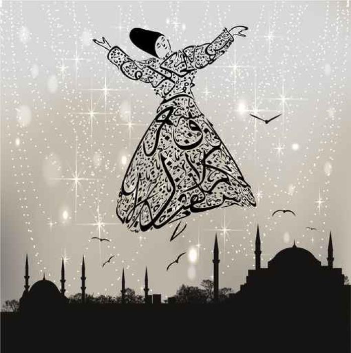 Vinylová Fototapeta Kaligrafie derviš a Istanbulu mešity - Vinylová Fototapeta