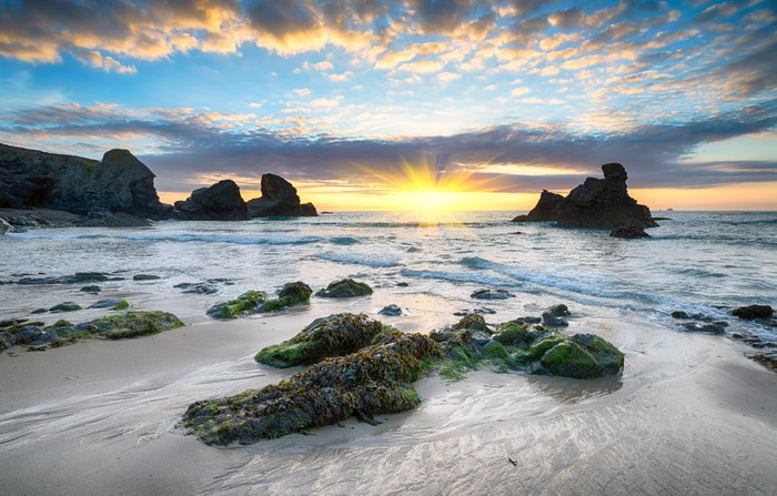 fototapete sonnenuntergang am strand porthcothan pixers. Black Bedroom Furniture Sets. Home Design Ideas
