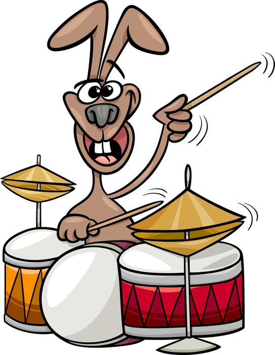 Carta da parati coniglio suonare la batteria cartone