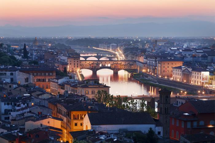 Vinylová Tapeta Panorama noc Florence. Itálie - Evropa