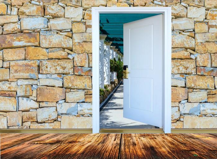 Carta da Parati Soggiorno con pavimenti in legno, porta aperta si ...