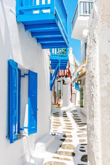 Cuadro en Lienzo Calle estrecha en el casco antiguo de Mykonos ...