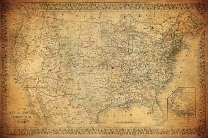 Vinylová Tapeta Vintage mapa Spojených států 1867 - Styly