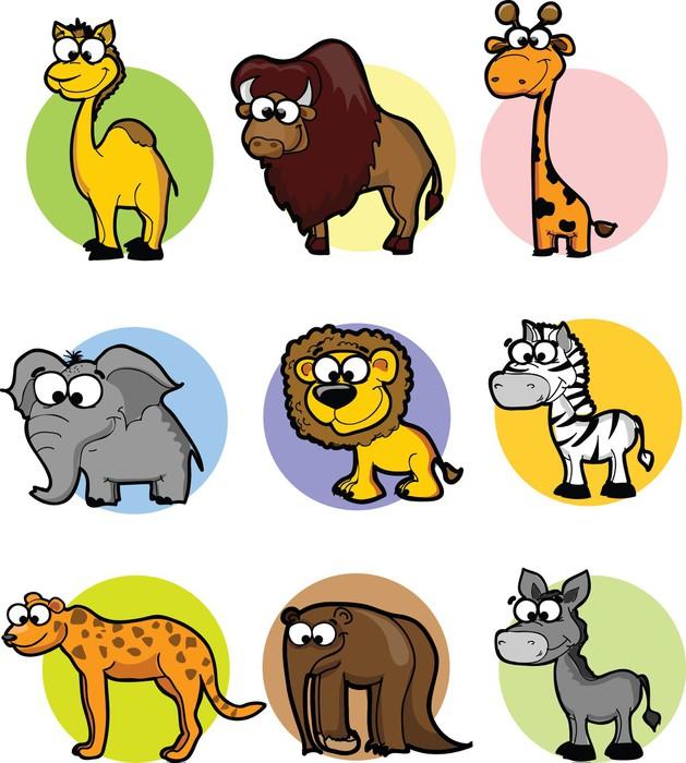 Vinylová Tapeta Sada roztomilých kreslených zvířat - Savci