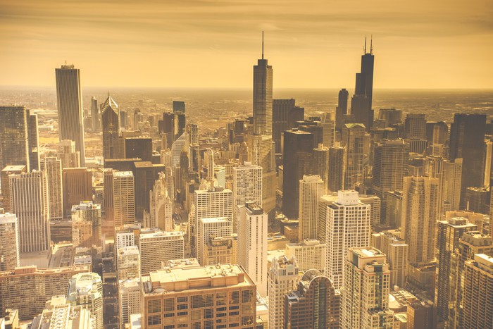Chicago Skyline Aerial View Wall Mural Pixers 174 We Live