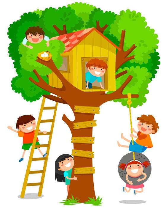 fototapete kinder spielen im baumhaus pixers wir. Black Bedroom Furniture Sets. Home Design Ideas