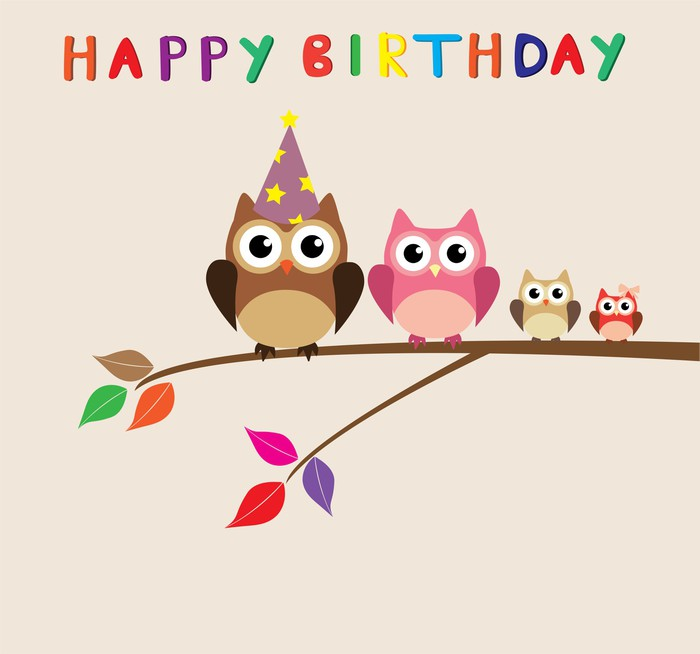 Vector Happy Birthday Card With Owl Family Wall Mural Pixers We