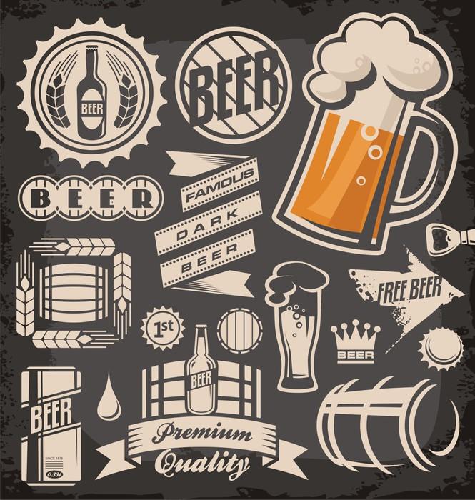 Vinylová Tapeta Sada piva emblémů, symbolů a log - Prodej