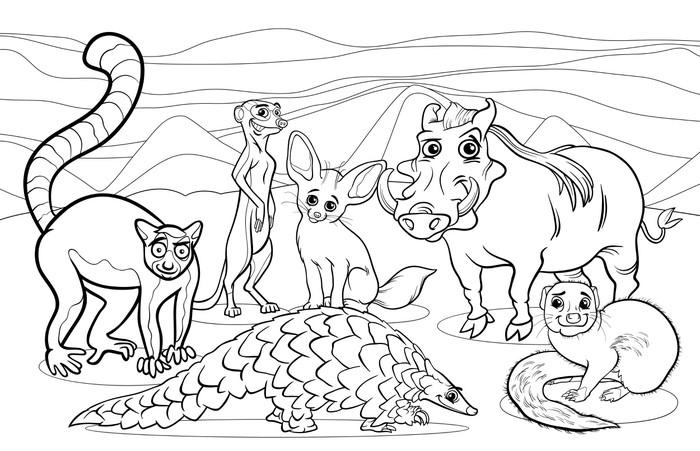 Vinilo Pixerstick Animales africanos para colorear de dibujos ...