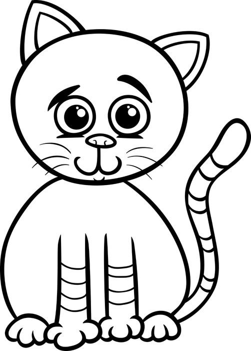 Fototapete Süße Katze Cartoon Malvorlagen • Pixers® - Wir leben, um ...