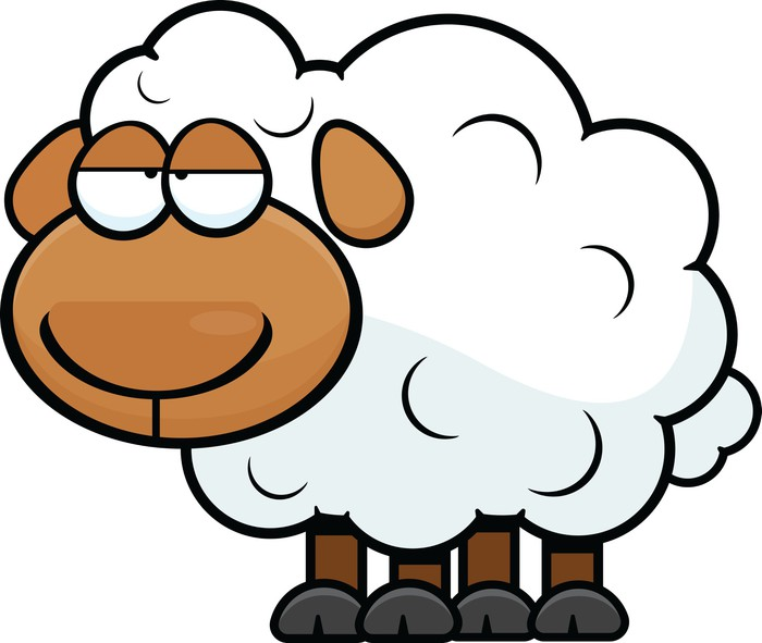 Vinylová Tapeta Cartoon Sheep Unavený - Savci