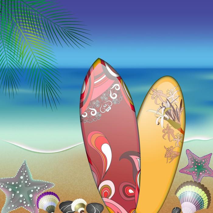 Vinylová fototapeta Surfovací prkna na pláži v létě - Vinylová fototapeta