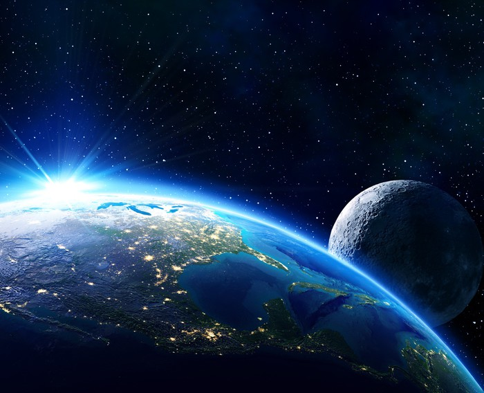 Fototapeta Wilk Wyje Do Księżyca W Pełni Pixers: Fototapeta Ziemia Usa, Horyzont I Księżyc • Pixers