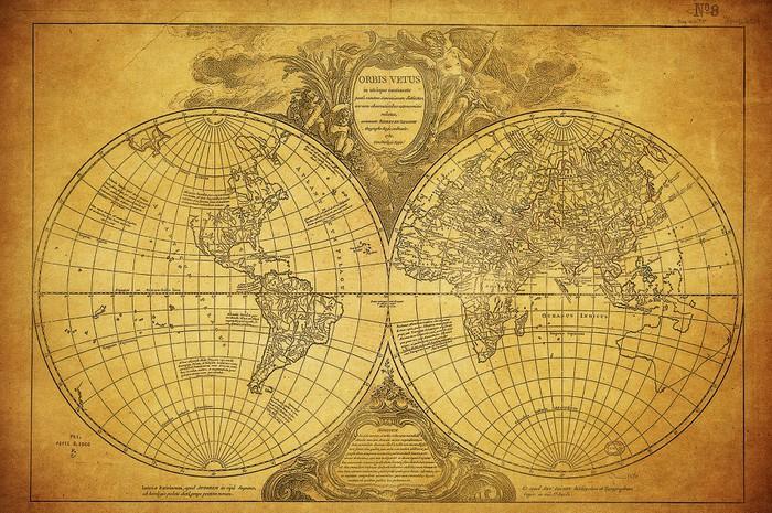 Carta da parati mappa annata del mondo 1752 pixers for Carta parati mondo