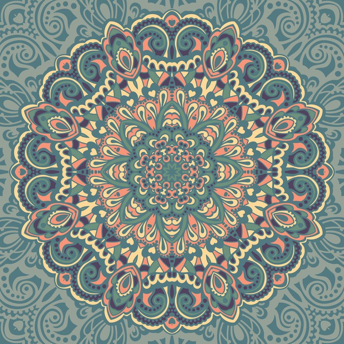 flower mandala abstract element for design wall mural pixers we live to change. Black Bedroom Furniture Sets. Home Design Ideas