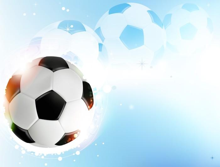 Vinilo pixerstick bal n de f tbol en fondo azul pixers for Fondos de futbol