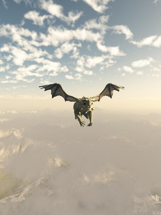 Plakát Green Dragon Létání nad horami - Draci