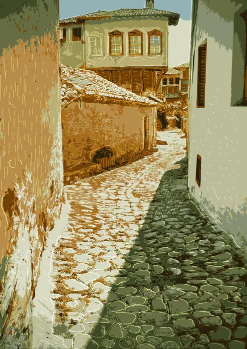 Vinylová Tapeta Staré ulice s dlažební kameny drahé. Řecko, Kastoria - Evropa