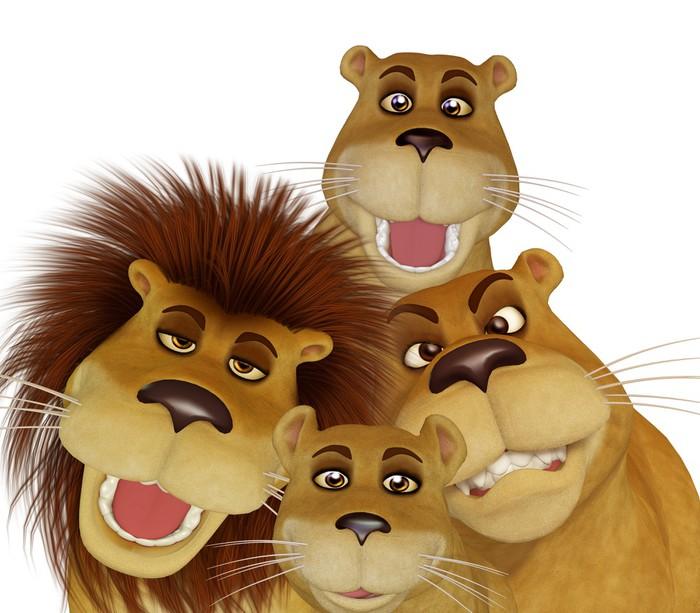 Poster famiglia leone cartone animato d pixers