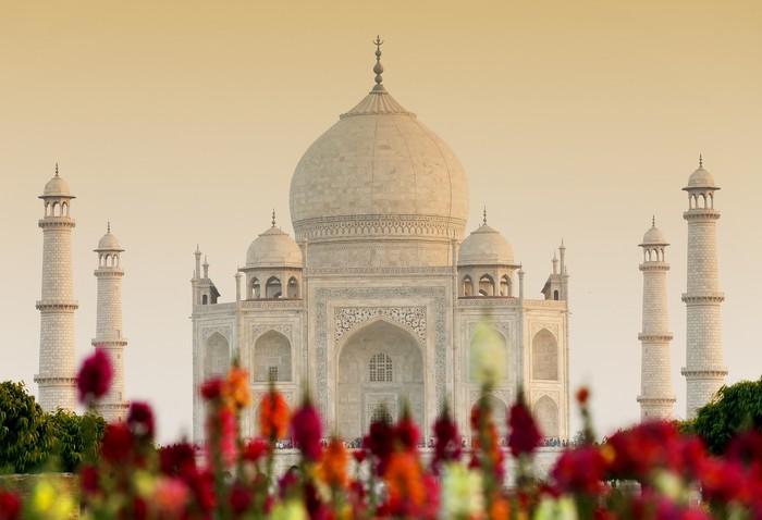 Vinylová Fototapeta Taj Mahal v západu slunce světlo, Agra, Uttar Pradesh, Indie - Vinylová Fototapeta