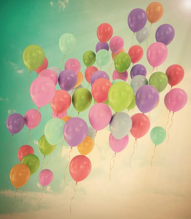 Vinylová Tapeta Klasické létající balónky modré obloze s mraky - Nebe